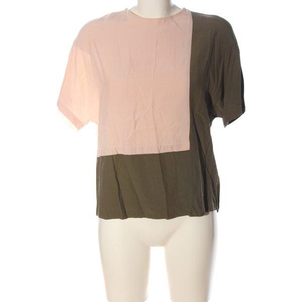 Topshop Schlupf-Bluse pink-khaki Casual-Look