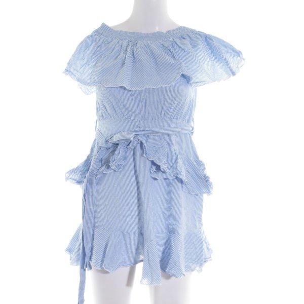 Topshop schulterfreies Kleid blau-weiß Streifenmuster Casual-Look