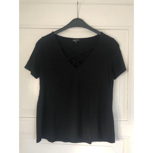 Topshop schwarzes Shirt mit Schnürung am Ausschnitt (Größe 36)