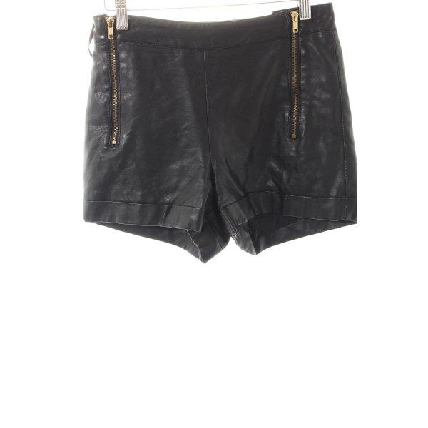 Topshop Shorts schwarz-goldfarben Metallelemente