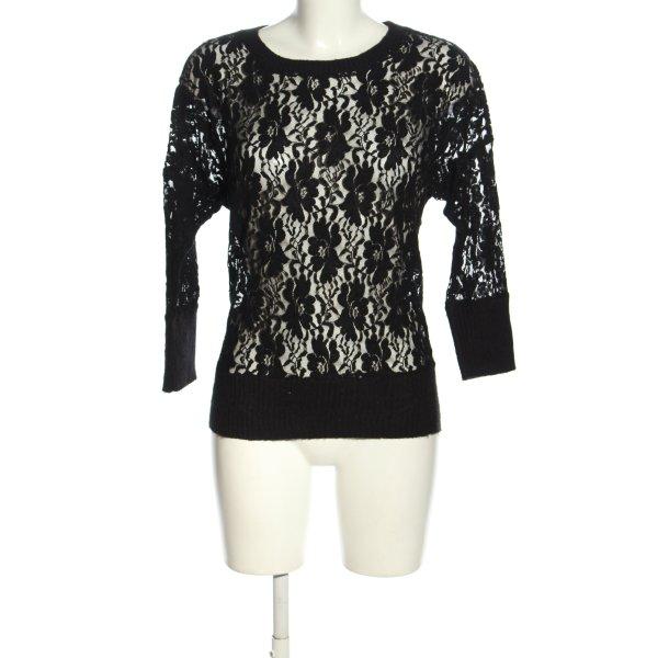 Topshop Strickshirt schwarz Blumenmuster Casual-Look