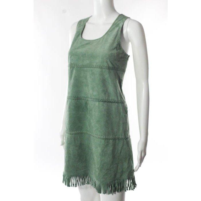 Topshop Suede Dress Green im Bohemian Pocahontas look