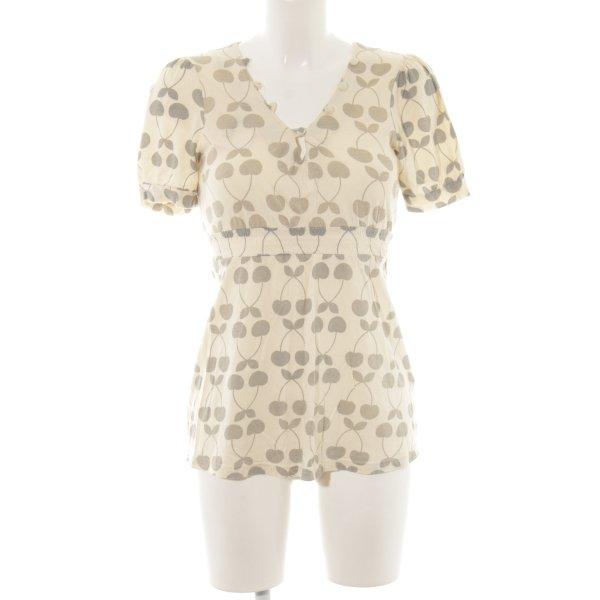 Topshop T-Shirt hellbeige-graubraun Allover-Druck Casual-Look