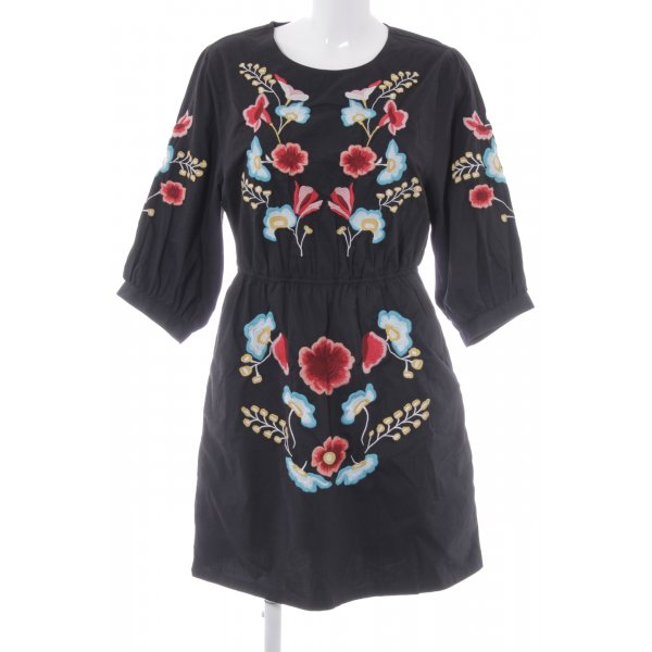 Topshop Tunikakleid schwarz florales Muster Boho-Look