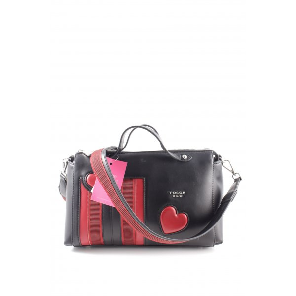 Tosca blu Handtasche schwarz-rot Motivdruck Casual-Look