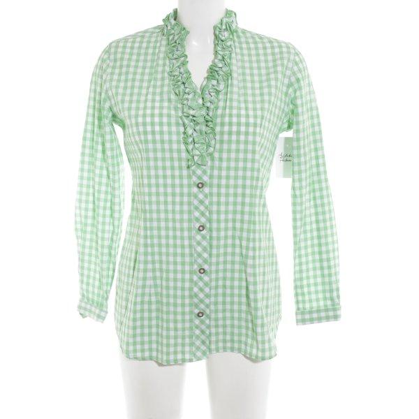 Trachtenhemd weiß-wiesengrün Karomuster klassischer Stil