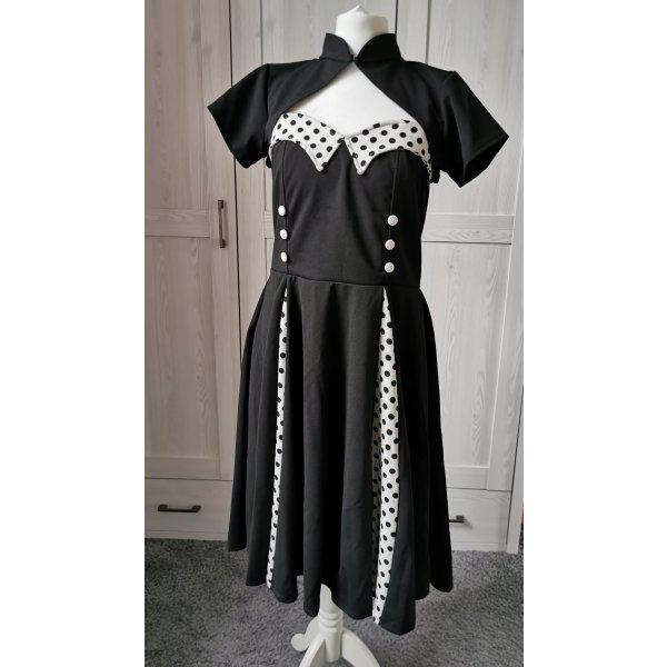 Trägerloses Vintage-Kleid Swingkleid Bolero Retrokleid Polka Dots