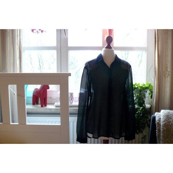 Transparente Bluse high low Perlenbestickt