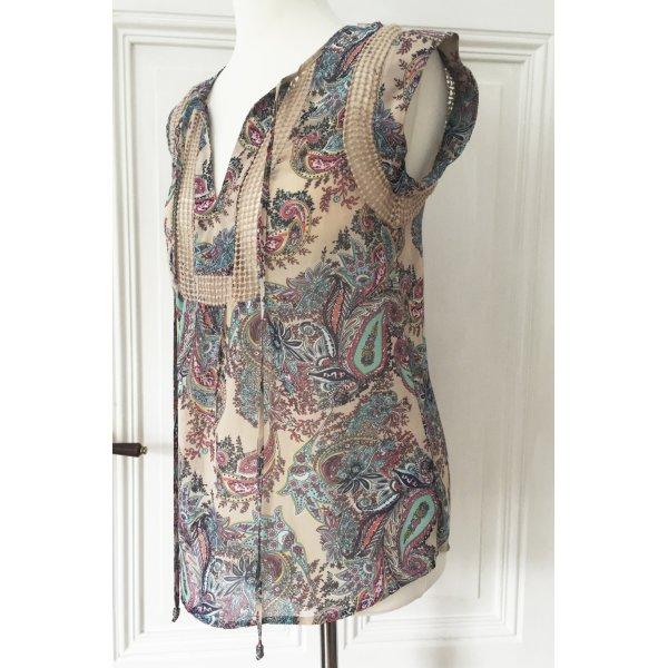 Transparente Bluse mit Paisleymuster in Pastelltönen NEU