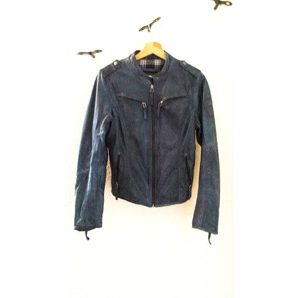 Trendige Bikerjacke aus echtem Leder von Mauritius mit Stehkragen in Trendfarbe rauchblau/petrol blau, Gr. 36