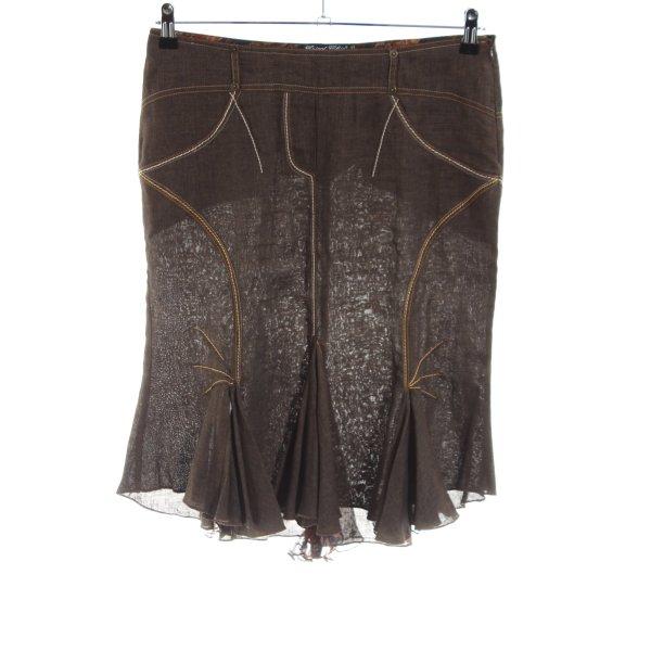 Tricot Chic High Waist Rock bronzefarben-braun Blumenmuster Casual-Look