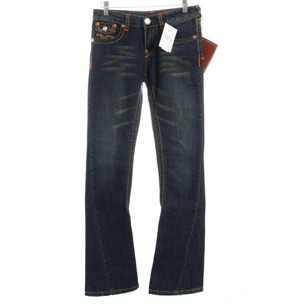 True Religion Boot Cut Jeans blau Hippie-Look Baumwolle