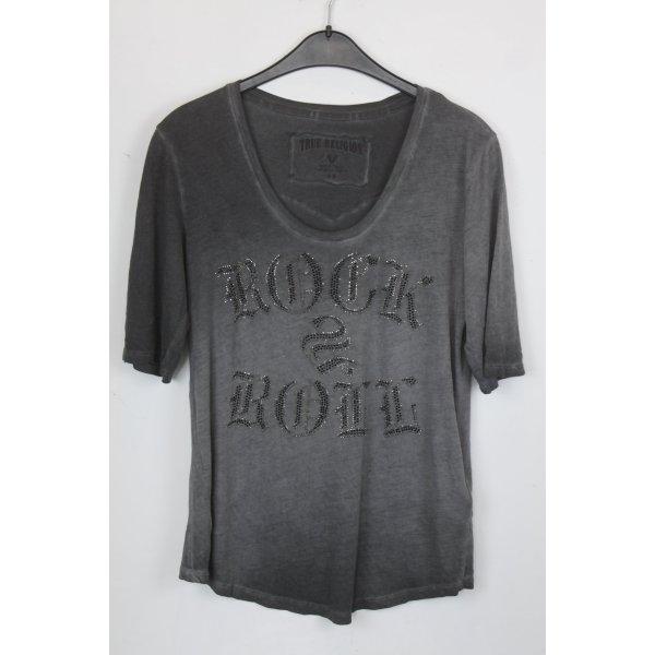 True Religion Shirt Gr.M grau mit Text und Strass Steinchen (18/5/138)