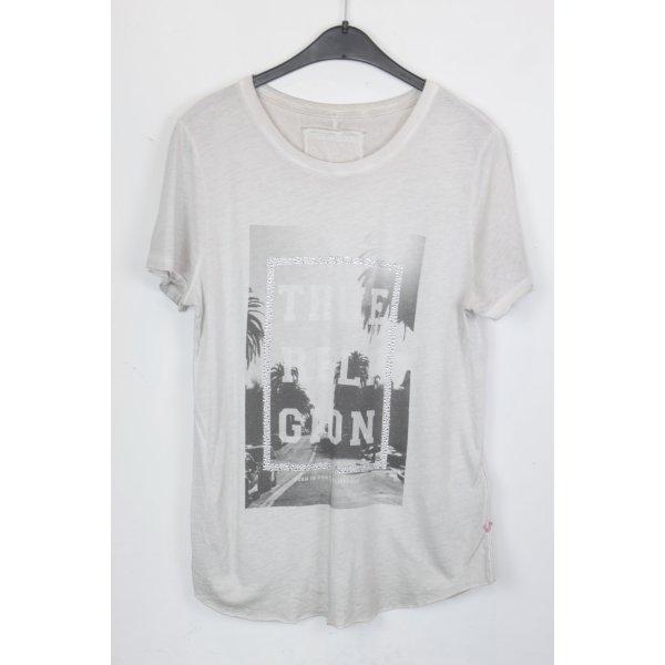 True Religion Shirt Gr. M weiß mit Tropen Print und Strass (18/5/135)