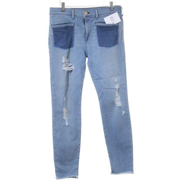 True Religion Skinny Jeans kornblumenblau-stahlblau Farbverlauf Casual-Look