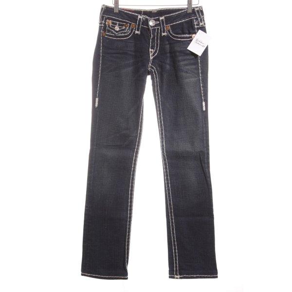 True Religion Slim Jeans weiß-dunkelblau extravaganter Stil