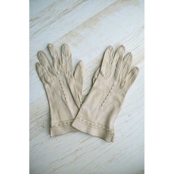 True Vintage Handschuhe Echtleder Creme Nudel Preppy Chic Sechziger Siebziger