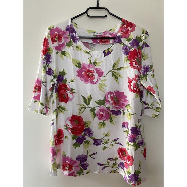 Tshirt weiß Blumen rosa L