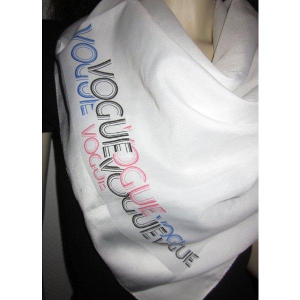 Tuch Halstuch Schal scarf Satin Print Schriftzug bunt VOGUE weiß Schal Scarf blau rosa schwarz Schrift