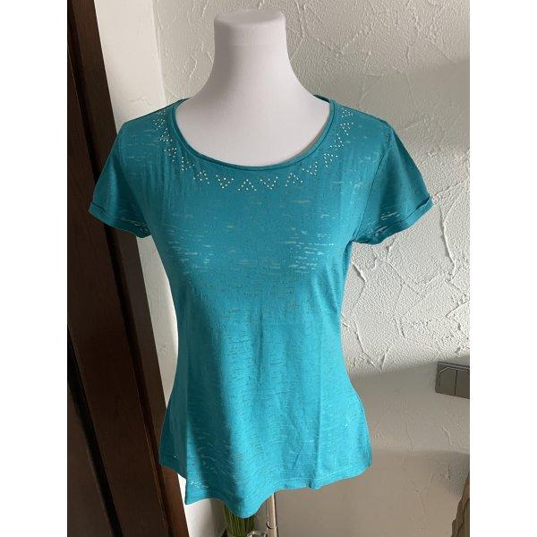 türkises Shirt mit Glitzersteinen von Yessica - Gr. M, wenig getragen