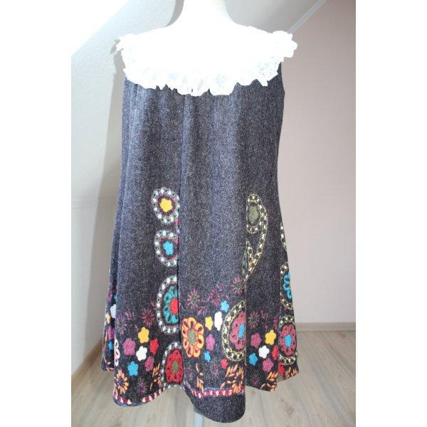 Tunika Kleid Gr. S M dunkelbraun Spitze Blumen A-Form Minikleid