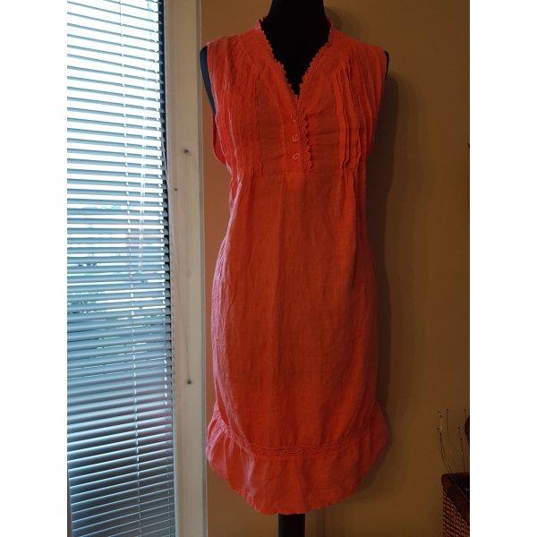 Robe tunique abricot-saumon lin