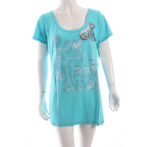 Tuzzi T-Shirt hellblau Schriftzug gedruckt Casual-Look