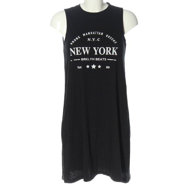 Twintip Shirtkleid schwarz-weiß Schriftzug gedruckt Casual-Look
