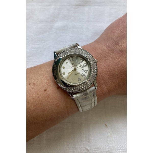 Uhr Crystal Blue weiß Silber Zirkonias ungetragen