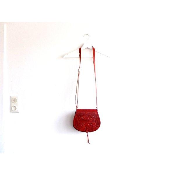 Umhängetasche Leder rot braun Marrocco Echtleder