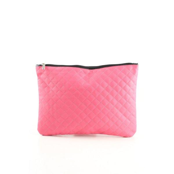 Clutch pink-schwarz Steppmuster Casual-Look