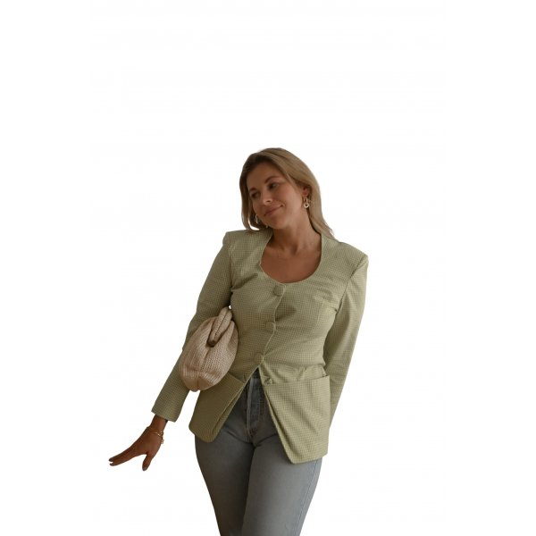 Long-Blazer blassgelb-khaki Karomuster Casual-Look