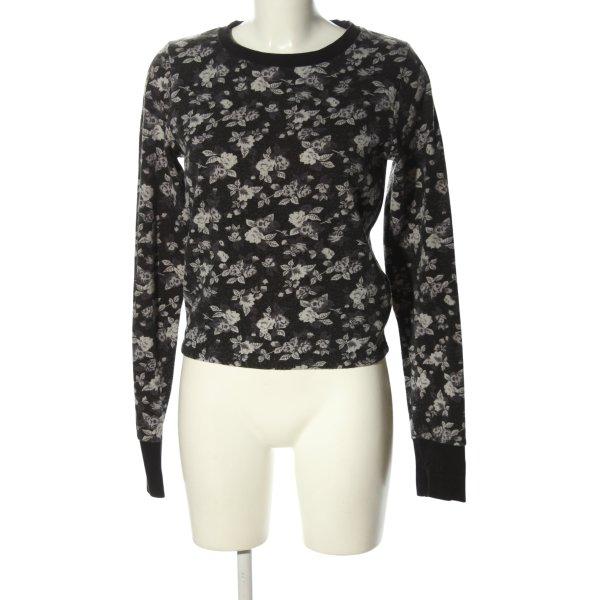 Sweatshirt schwarz-hellgrau Allover-Druck Casual-Look