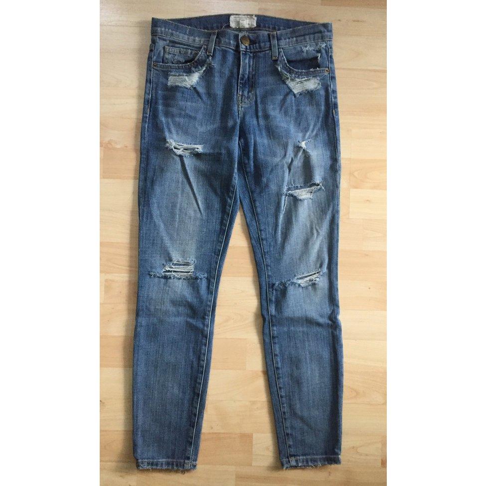 used washed & destroyed Jeans, skinny fit, cropped von Current Elliott, Gr. 27