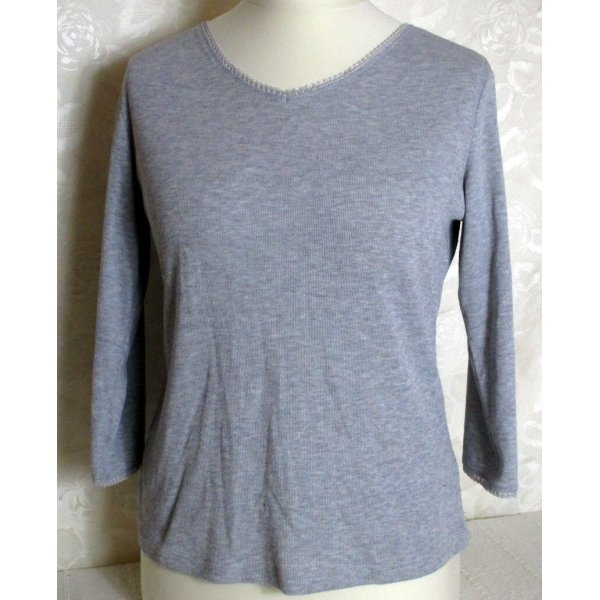 V-Neck-Shirt Größe 44 Hellgrau Melange