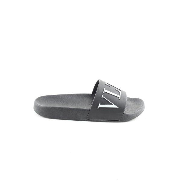 Valentino Komfort-Sandalen schwarz Schriftzug gedruckt Casual-Look