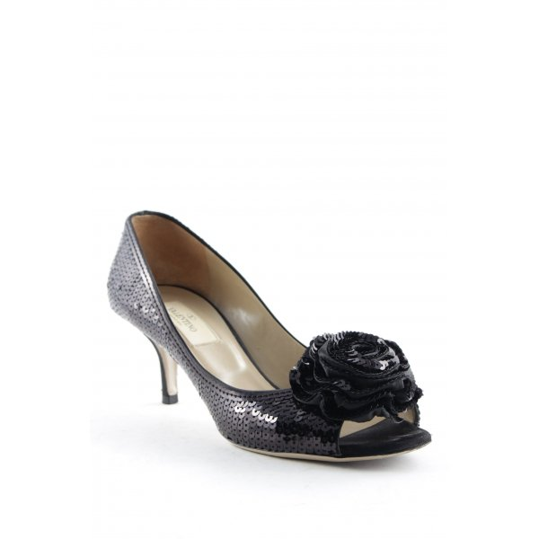 Valentino Peeptoe Pumps schwarz Blumenmuster Elegant