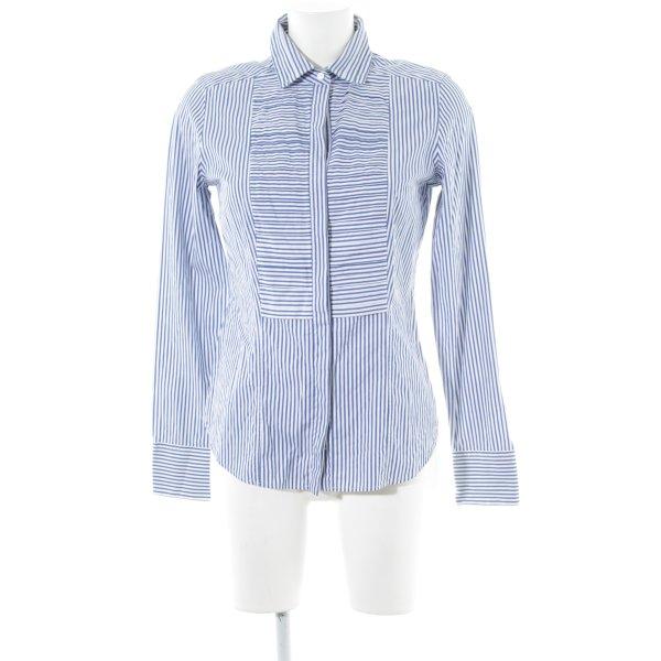 van Laack Langarm-Bluse blau-weiß Streifenmuster Business-Look