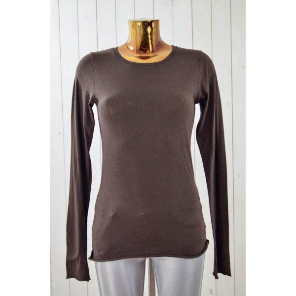 VELVET Damen Shirt Longsleeve Braun Rundhals Langarm Baumwolle Elastan Gr.M