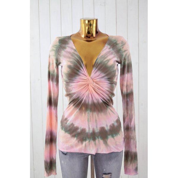 VELVET Damen Shirt Longsleeve Gerafft Baumwolle Batik Rosa Braun V-Ausschnitt L