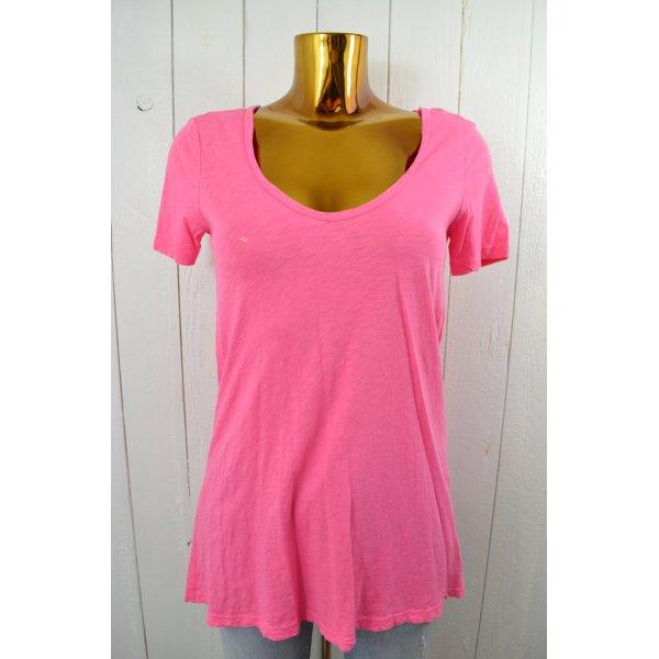 VELVET Damen T-Shirt V-Ausschnitt Kurzarm Pink Baumwolle Gr.S