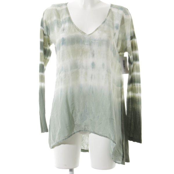 Velvet Longsleeve blassgrün-olivgrün Batikmuster