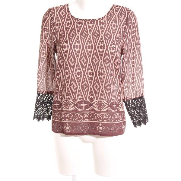 Vero Moda Langarm-Bluse abstrakter Druck Casual-Look