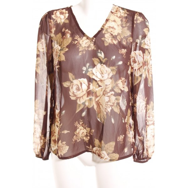 Vero Moda Langarm-Bluse ocker-grasgrün florales Muster Boho-Look