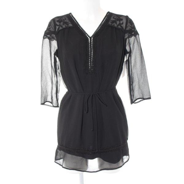 Vero Moda Long-Bluse schwarz Romantik-Look
