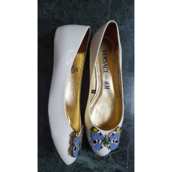 Versace for H&M Patent Leather Ballerinas white-neon blue