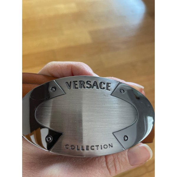 Versace Leather Belt brown-silver-colored