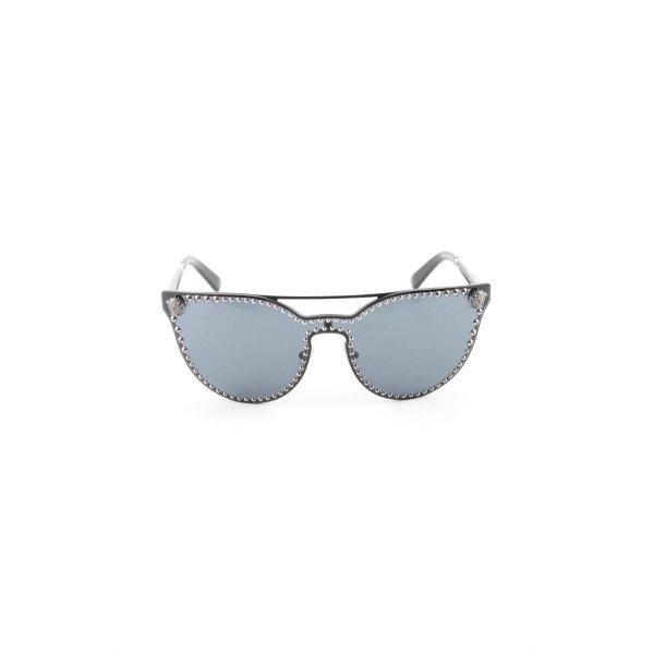 Versace ovale Sonnenbrille blau-schwarz Glanz-Optik