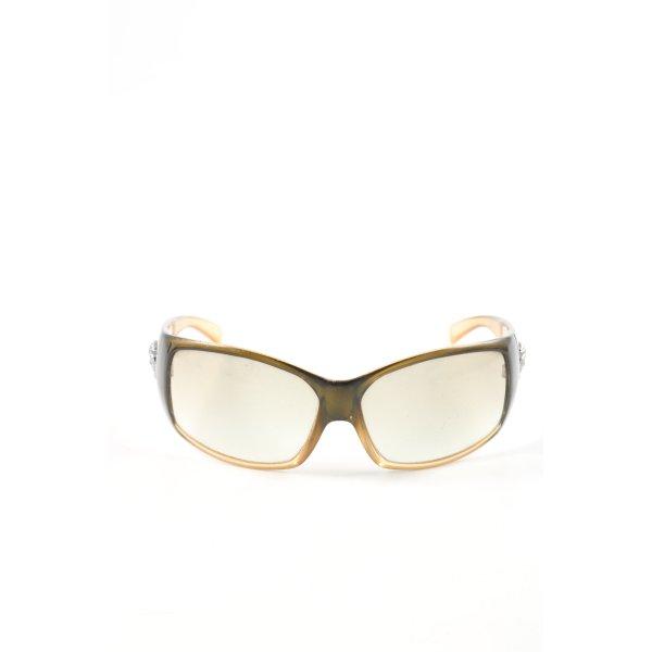 Versace ovale Sonnenbrille goldfarben-khaki Farbverlauf Casual-Look