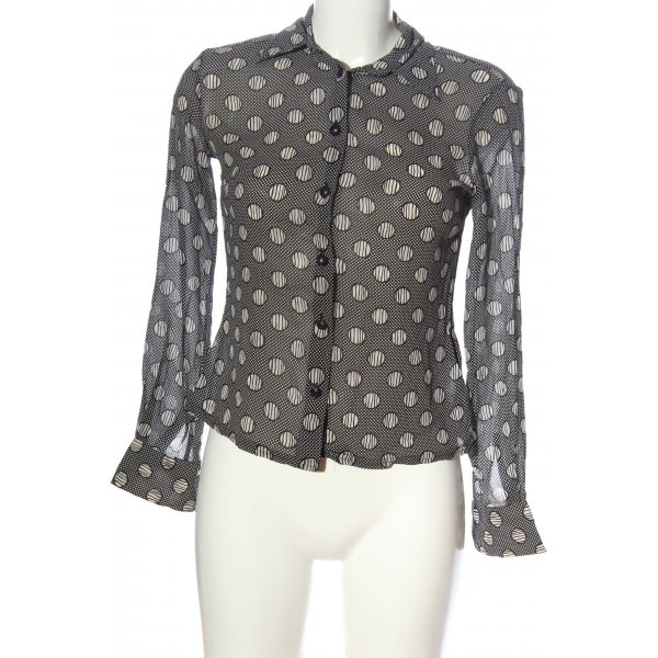 Versus Langarmhemd schwarz-weiß Punktemuster Elegant